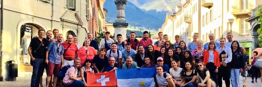 Août 2019 : visite en Valais de 22 étudiants d'Esperanza avec leurs accompagnants et le président d'EVA Hugo Donnet